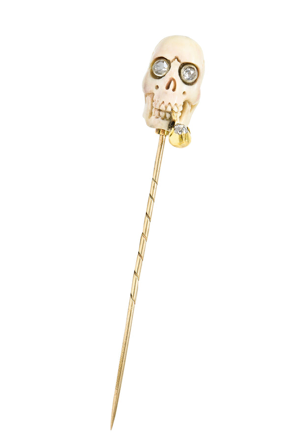 Vintage Bone Diamond 18 Karat Gold Smoking Skull Stickpin
