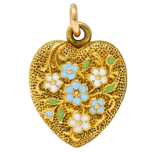 Art Nouveau Enamel 14 Karat Gold Floral Heart Locket Charm