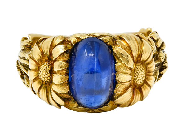 Art Nouveau No Heat Sapphire 18 Karat Gold Flower Ring AGL