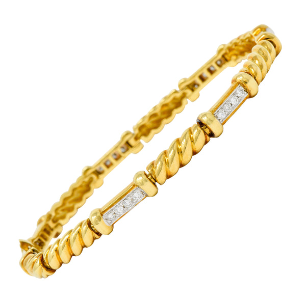 Spark Creations Diamond 18 Karat Two-Tone Gold Ribbed Link Bracelet