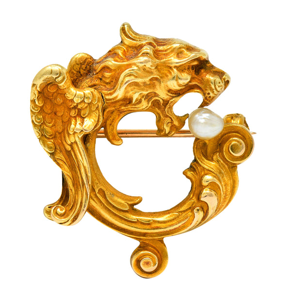 Whiteside & Blank Art Nouveau Baroque Pearl 14 Karat Gold Winged Lion Brooch - Wilson's Estate Jewelry