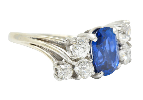 Retro 4.72 CTW No Heat Ceylon Sapphire Diamond 14 Karat White Gold Bypass Cluster Ring GIA