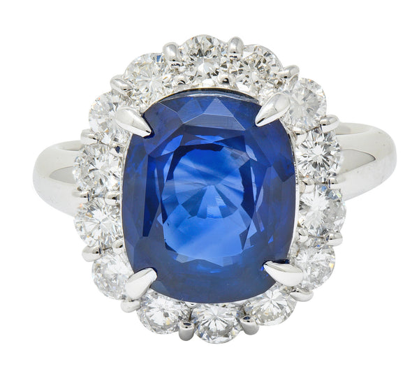 Contemporary 8.35 CTW Sapphire Diamond Platinum Cluster Ring