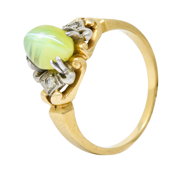 Edwardian Cat's Eye Chrysoberyl Diamond Platinum-Topped 14 Karat Gold Ring