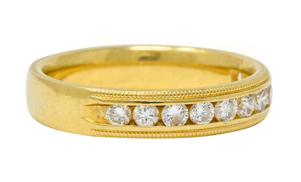 Contemporary Diamond 18 Karat Gold Wedding Anniversary Band Ring