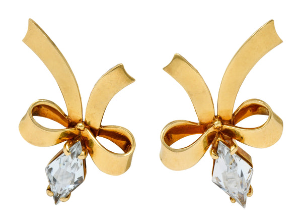 Retro Aquamarine 14 Karat Gold Ribboned Bow Screwback Earrings