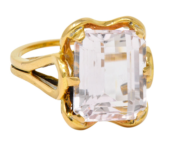 Vintage Emerald Cut Morganite 18 Karat Gold Statement Ring Circa 1980 - Wilson's Estate Jewelry