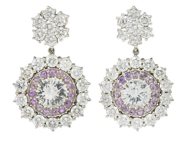 Contemporary 7.13 CTW Sapphire Diamond Platinum Cluster Drop Earrings