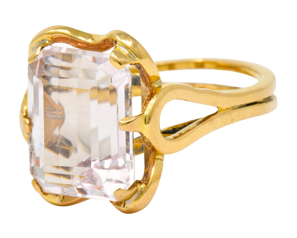 Vintage Emerald Cut Morganite 18 Karat Gold Statement Ring Circa 1980