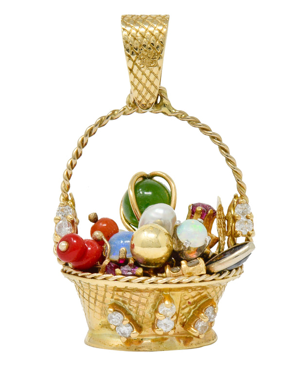 Retro Diamond Sapphire Opal Multi-Gem 14 Karat Gold Fruit Basket Pendant Charm