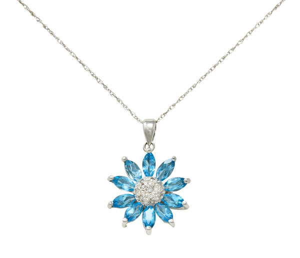 1990's Vintage Diamond Blue Topaz 14 Karat White Gold Radiating Floral Pendant Necklace