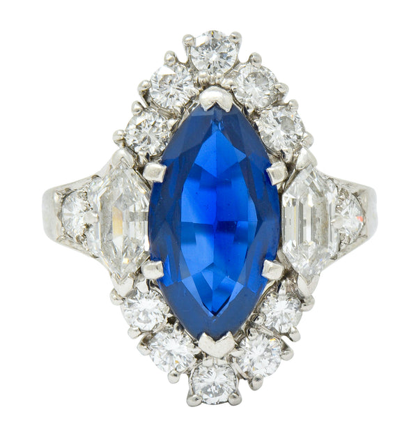 Tiffany & Co. No Heat Sapphire Diamond Platinum Navette Cluster Ring AGL