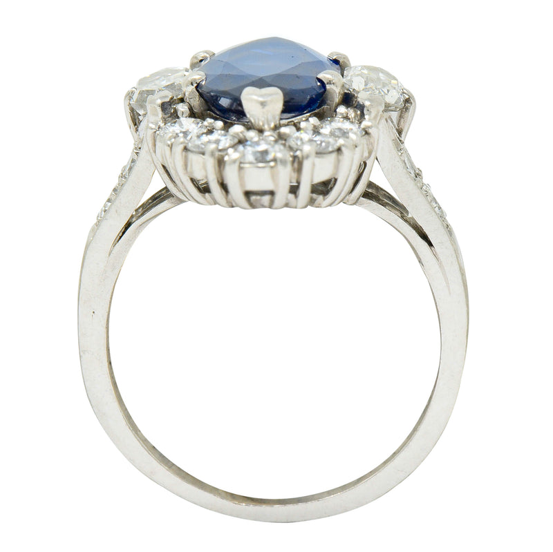 Tiffany & Co. No Heat Sapphire Diamond Platinum Navette Cluster Ring AGL - Wilson's Estate Jewelry
