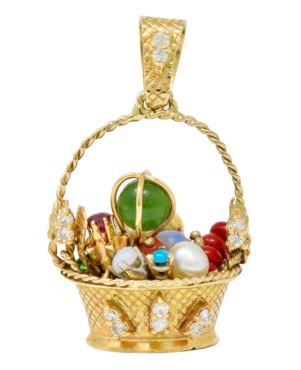 Retro Diamond Sapphire Opal Multi-Gem 14 Karat Gold Fruit Basket Pendant Charm - Wilson's Estate Jewelry