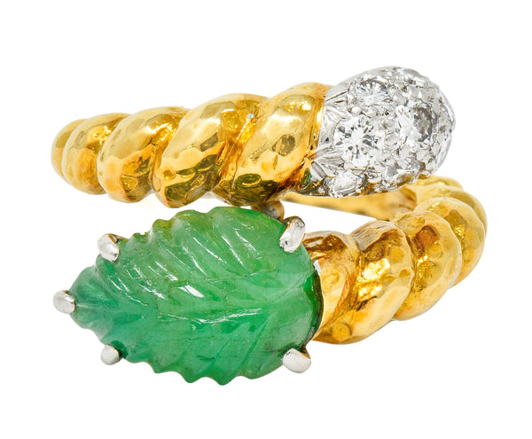 David Webb Carved Emerald Pave Diamond 18 Karat Gold Bypass Ring