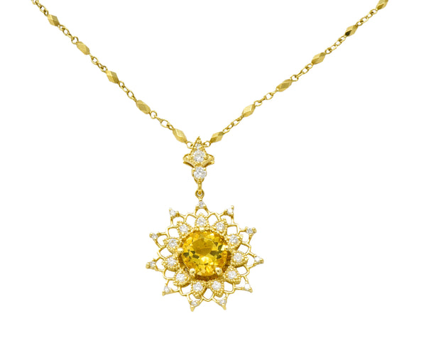 Heliodor Golden Beryl Diamond 18 Karat Gold Floral Burst Necklace