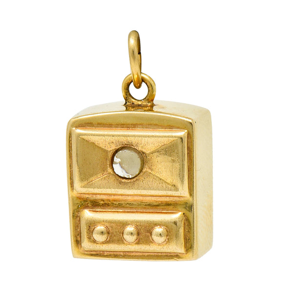 Art Deco 14 Karat Gold Stanhope Microphoto New York Charm