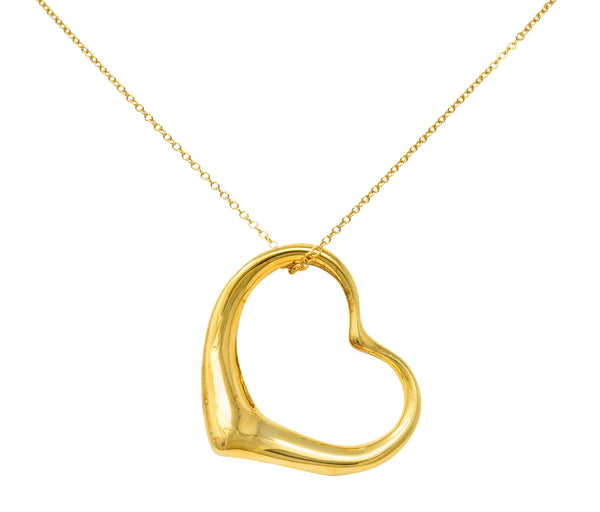 Large Elsa Peretti Tiffany & Co. 18 Karat Gold Open Heart Pendant 30 Inch Necklace