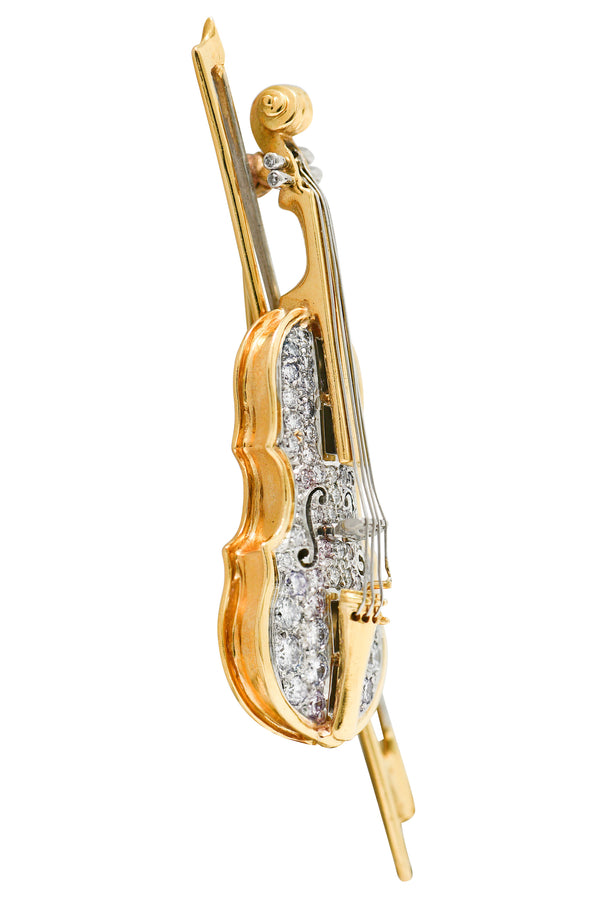 Oscar Heyman 2.00 CTW Diamond 18 Karat Gold Platinum Violin Brooch