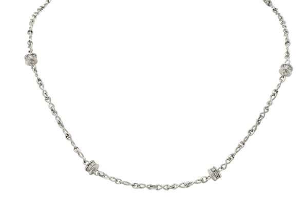 Effortless 0.50 CTW Diamond 18 Karat White Gold Rondelle Station Necklace