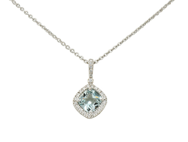 Green Beryl Diamond 18 Karat White Cushion Pendant Necklace