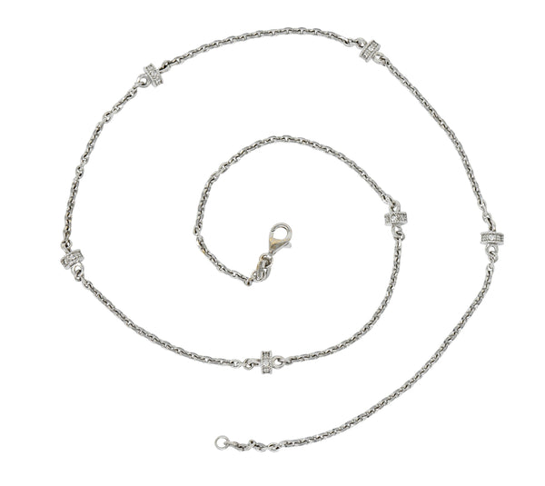 Chic Diamond 18 Karat White Gold Rondelle Station Cable Chain Necklace