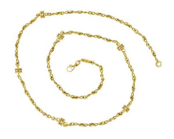 Fantastic Diamond 18 Karat Gold Rondelle Station Necklace