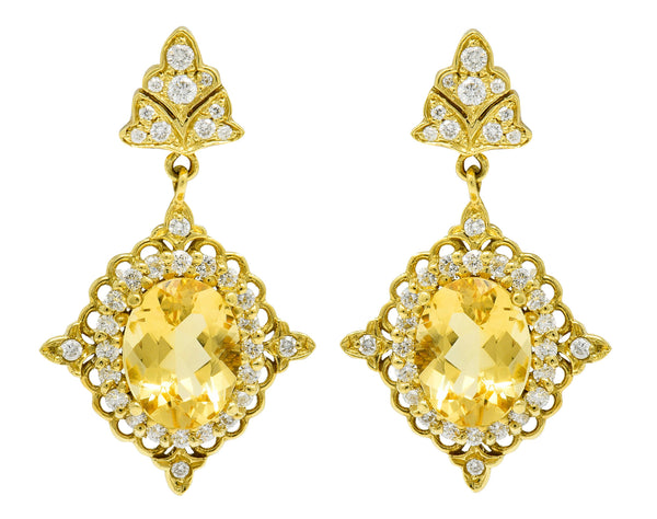 Vibrant Heliodor Golden Beryl 18 Karat Gold Foliate Drop Earrings
