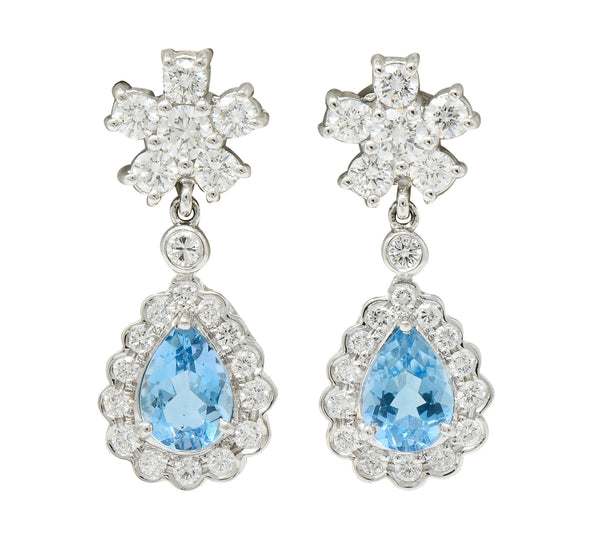 2.00 CTW Aquamarine Diamond Platinum 18 Karat White Gold Convertible Drop Earrings