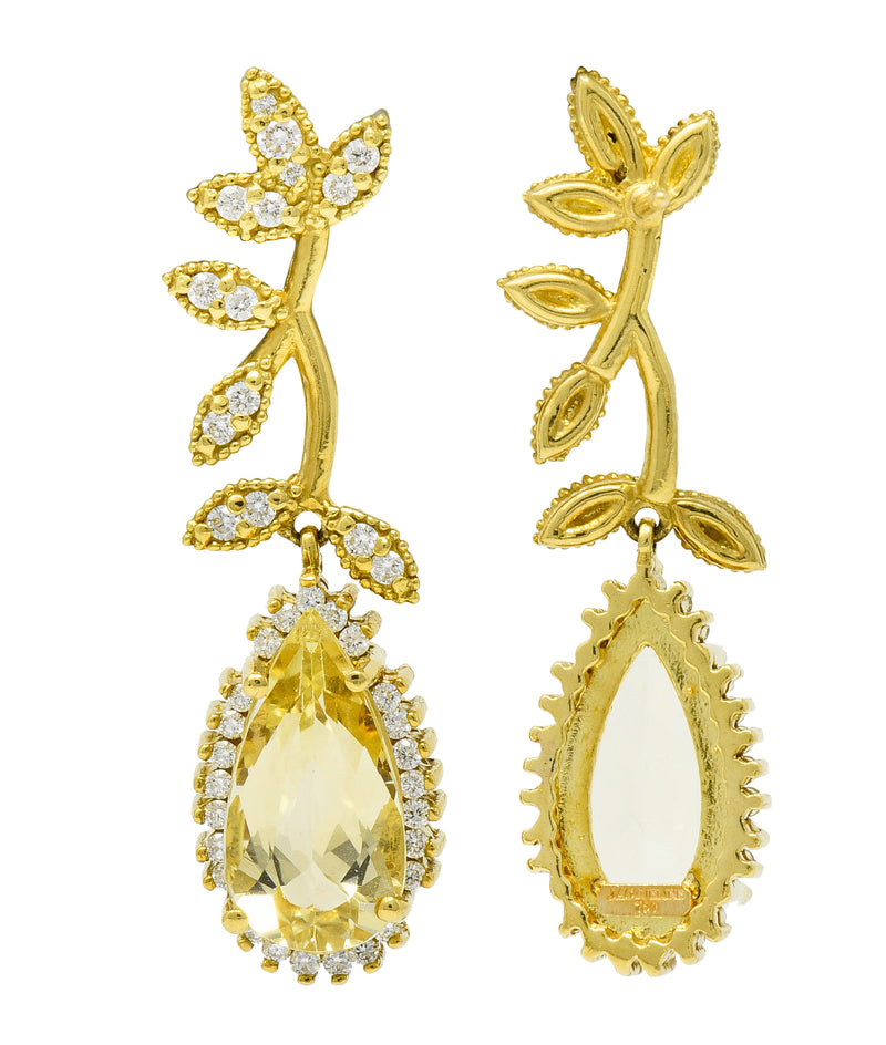 Heliodor Golden Beryl Diamond 18 Karat Gold Foliate Drop Earrings