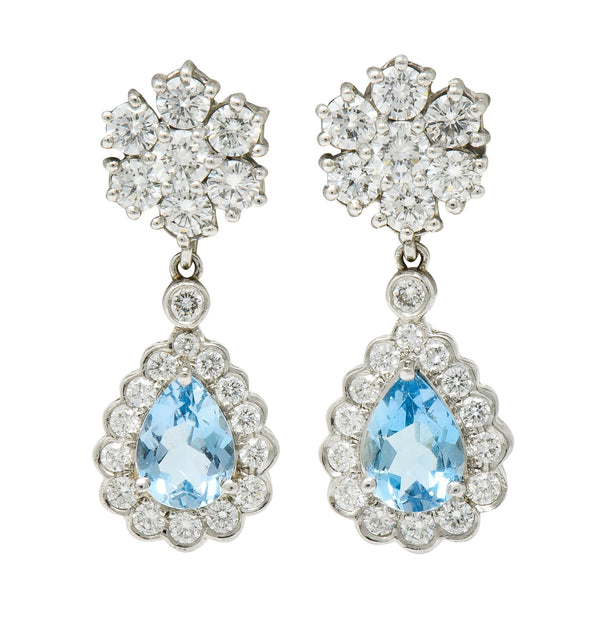 Aquamarine & Diamond Platinum 18 Karat White Gold Convertible Drop Earrings