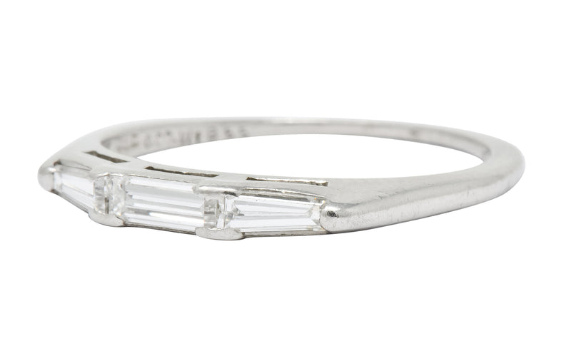J.E. Caldwell Baguette Diamond Platinum Stacking Band Ring Circa 1950 - Wilson's Estate Jewelry