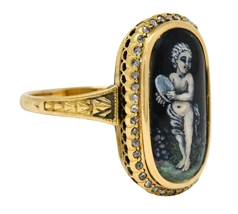 1880 Victorian CTW Diamond Enamel 18 Karat Gold Thalia Muse Painted Portrait Ring - Wilson's Estate Jewelry
