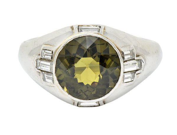 .11111 *Art Deco 5.25 CTW No Heat Green Sapphire Diamond Platinum Men's Ring GIA - Wilson's Estate Jewelry