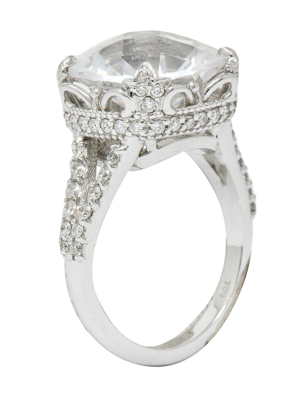 Exquisite 10.25 CTW White Sapphire Diamond 18 Karat White Gold Cocktail Ring