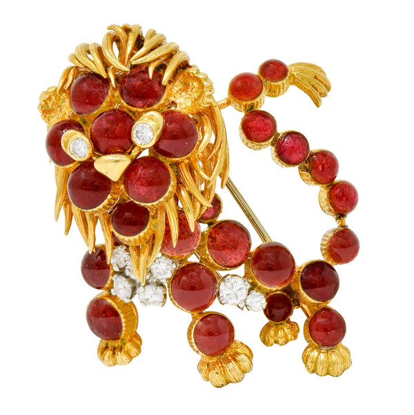 Cartier France Vintage Diamond 18 Karat Gold Whimsical Lion Brooch - Wilson's Estate Jewelry