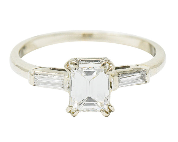 Retro 1.14 CTW Emerald Cut Diamond 14 Karat White Gold Engagement Ring