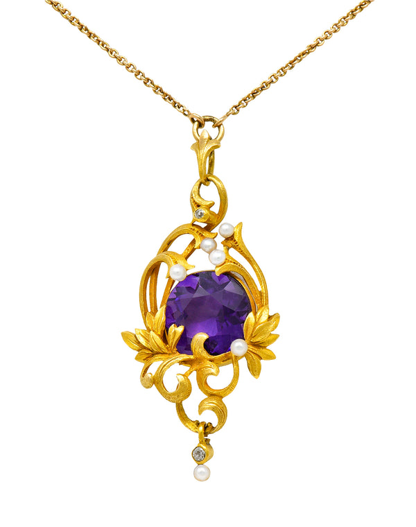 Art Nouveau 14 Karat Gold Amethyst Diamond Pearl Foliate Drop Pendant Necklace