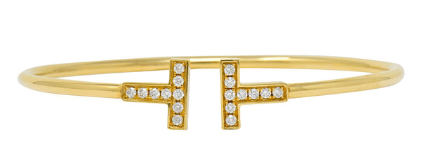 Tiffany & Co. Diamond 18 Karat Gold Tiffany T Flexible Cuff Bracelet - Wilson's Estate Jewelry