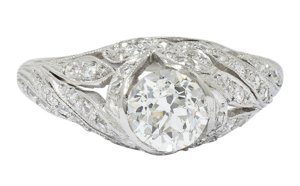 Edwardian 1.55 CTW Diamond Platinum Bow Engagement Ring GIA