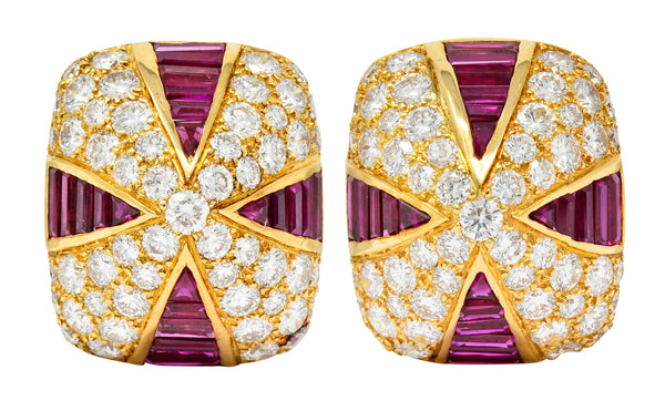 Oscar Heyman 9.02 CTW Diamond Ruby 18 Karat Gold Pave Pyramidal Ear-Clip Earrings - Wilson's Estate Jewelry