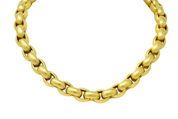 Paloma Picasso Tiffany & Co. 18 Karat Yellow Gold Hammered Link Necklace