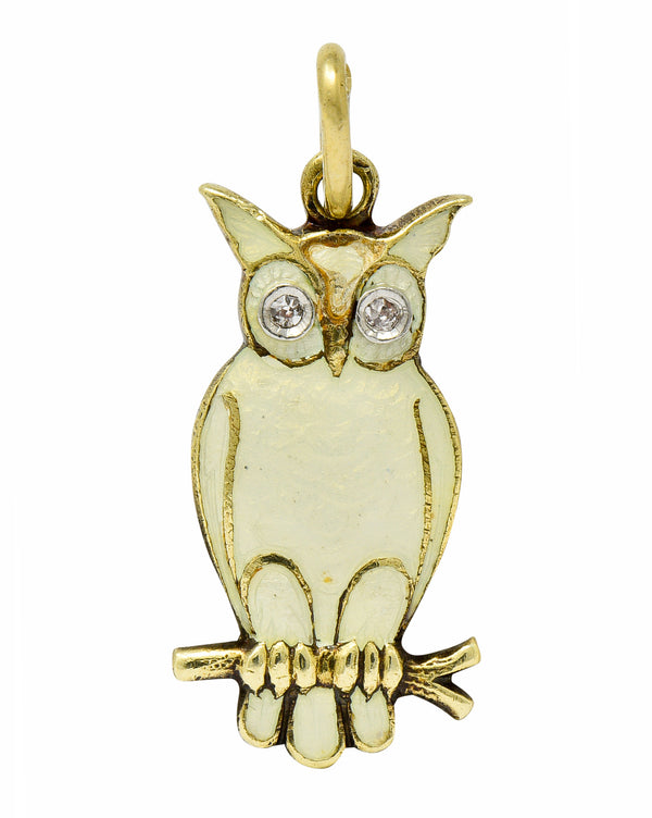 Art Deco Diamond Enamel 14 Karat Gold French Owl Charm