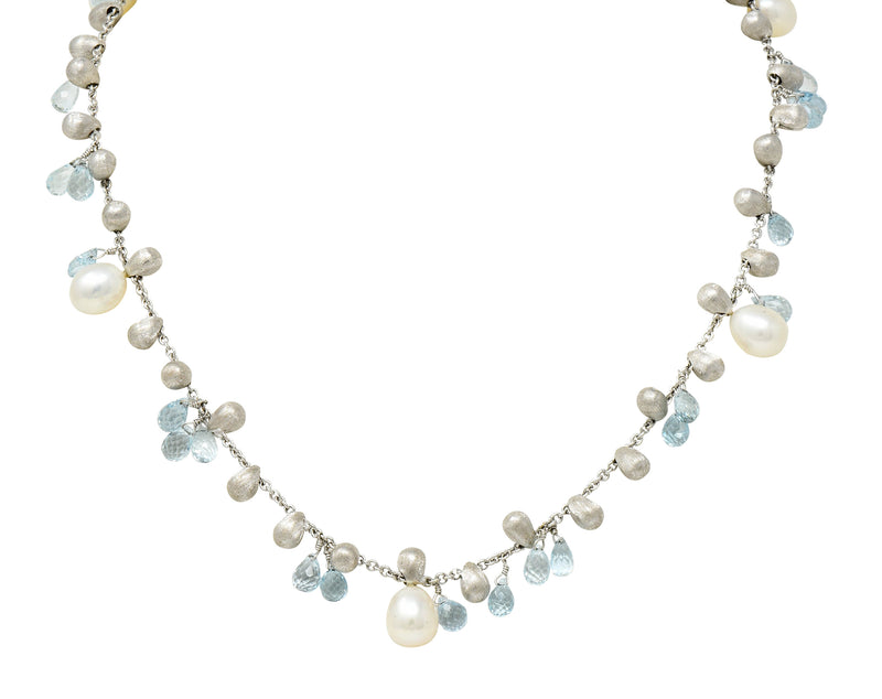 Marco Bicego Aquamarine Cultured Pearl 18 Karat White Gold Droplet Necklace - Wilson's Estate Jewelry