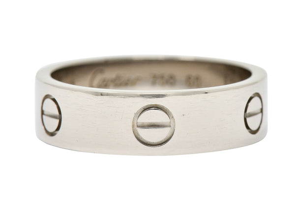 Cartier 18 Karat White Gold Unisex Vintage Love Band Ring