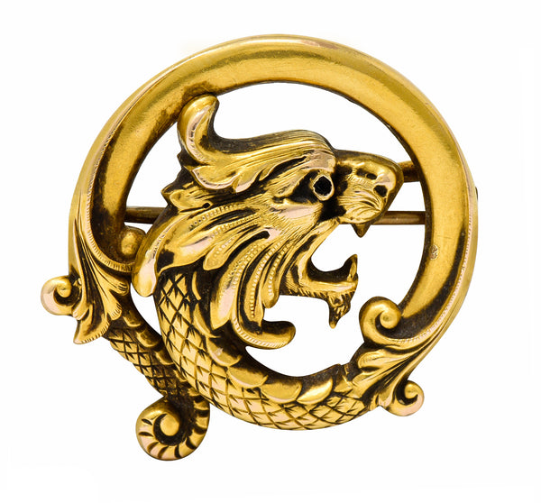 Carter & Gough Art Nouveau 14 Karat Gold Chimera Dragon Watch Pin