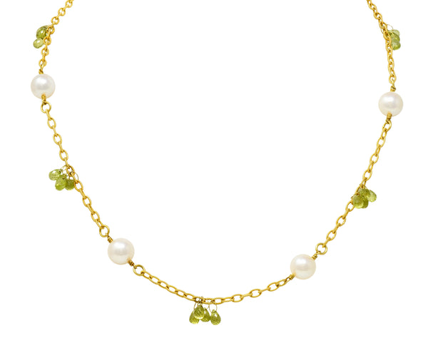 Contemporary Cultured Pearl Peridot 18 Karat Gold Station Necklace - Wilson's Estate Jewelry