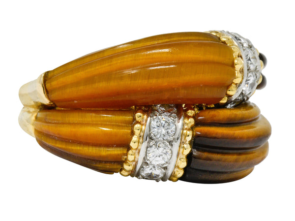 .11111 *Vintage Diamond Tiger's Eye Quartz 18 Karat Gold Fluted Band Ring - Wilson's Estate Jewelry