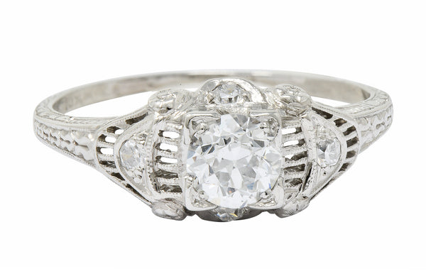 Art Deco 0.65 CTW Diamond Platinum Engagement Ring