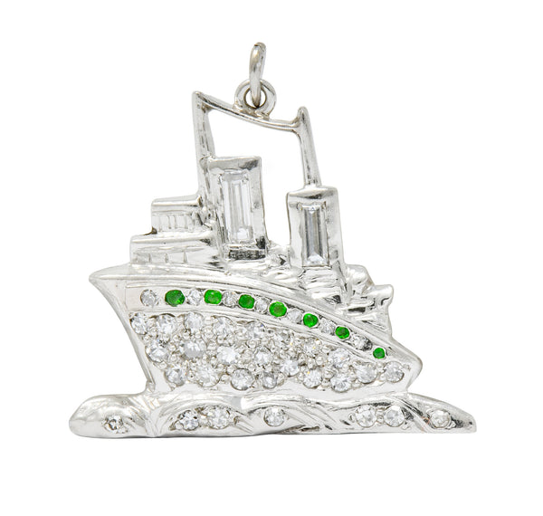 Art Deco Diamond Demantoid Garnet Platinum Queen Mary Ocean Liner Ship Charm - Wilson's Estate Jewelry